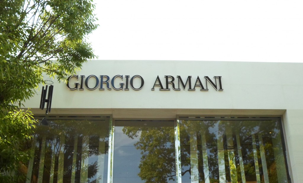 sign channel letters nyc Giorgio Armani Tee Pee Signs Push Thru Letters