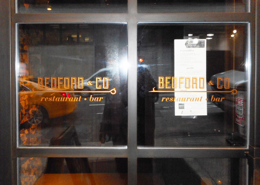 window lettering Bedford & Co NYC vinyl graphics