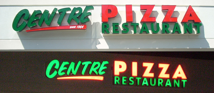 centre pizza red green channel letters tee pee signs neon