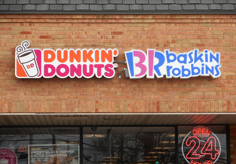 dunkin donuts baskin robbins tee pee signs vinyl cabinet sign