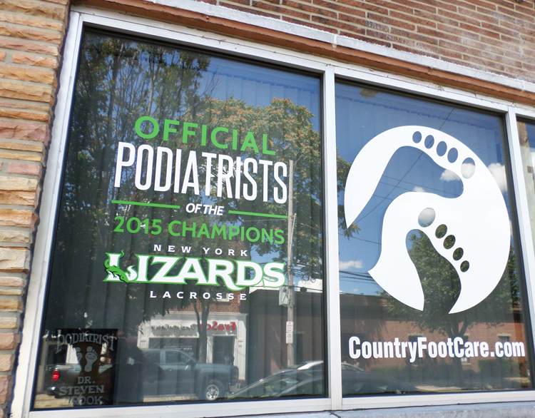 window lettering country foot care new york lizards