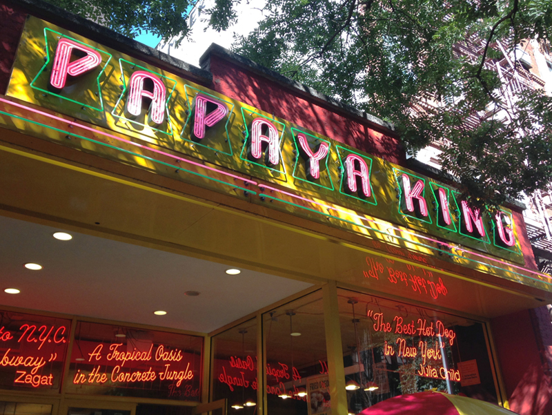 papaya king famous neon sign nyc channel letters