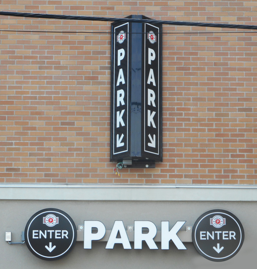 Parking Systems Triangular Vertical Cabinet Sign Channel Letters