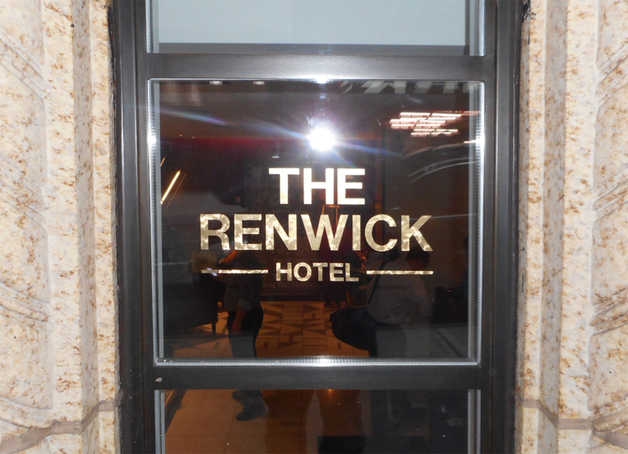 Renwick Hotel 22k gold window lettering vinyl graphics NYC