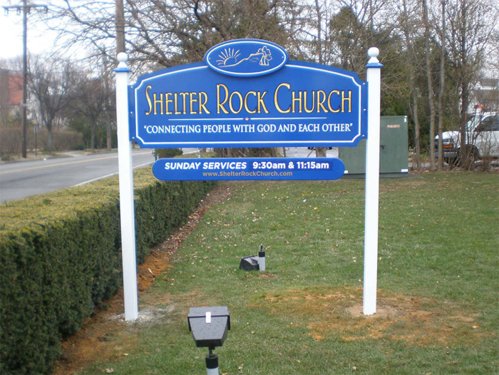 shelter rock church monument sign tee pee signs