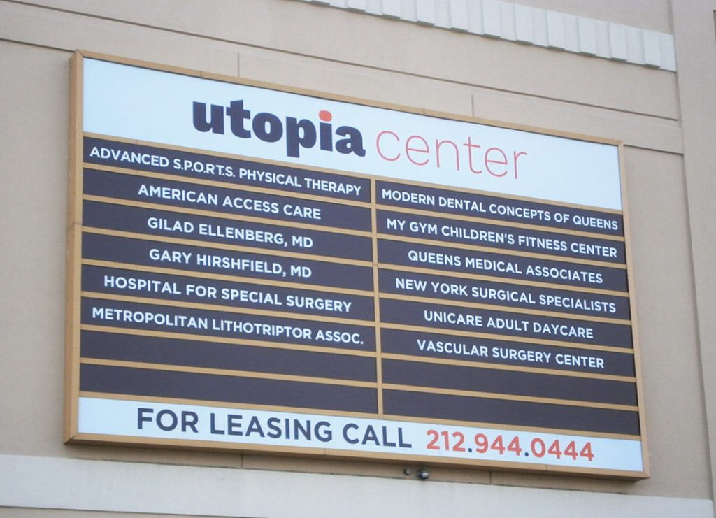 lightbox nyc Utopia Center Illuminated Sign Branding Logo Design NYC