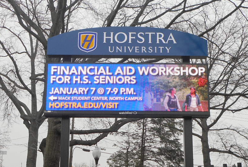 hofstra university led message center push thru letters tee pee signs